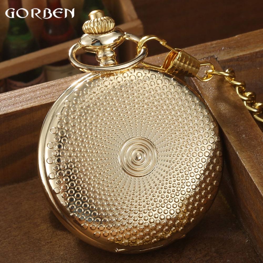 Mens pocket watches with chain images mens gold pocket watches gifts - Luxury Gold Full Dot Design Pocket Watch Women Silver Rose Golden Smooth Roman Number Quartz Pocket Watch With Chain Mens Gifts