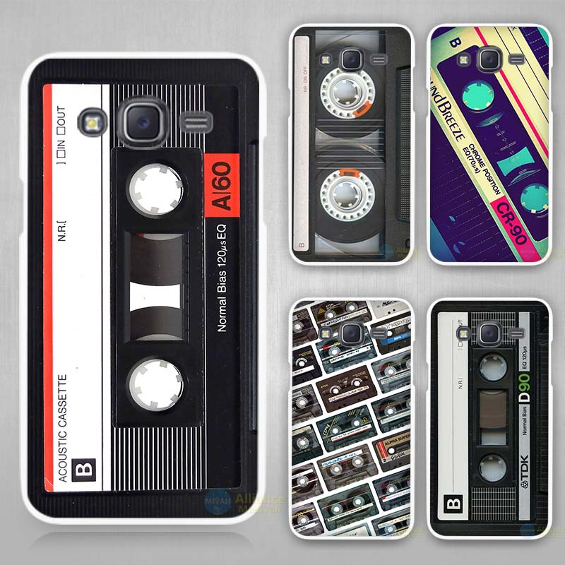 Old Cassette Hard White Plastic Case Cover for Samsung Galaxy J1 J2 J3 J5 J7 C5 C7 E5 E7 2016 2017 Emerge