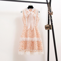 New 2019 Palace Wind Retro lace Elegant Sleeveless Embroidered Flower Little Fresh Dress