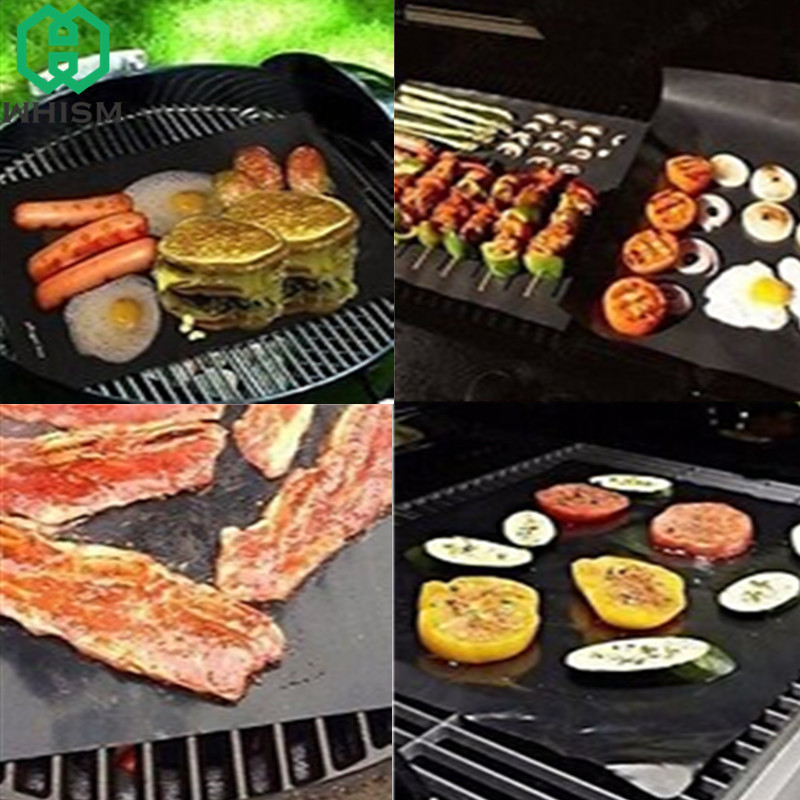 Non Stick Bbq Grill Mat Barbecue Baking Liners Glass Fiber Reusable Teflon Cooking Sheets Portable Easy Clean Bbq Accessories Home & Garden