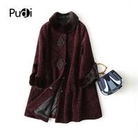 PUDI A17095 women's winter warm genuine wool fur with real mink fur hood coat lady coat jacket overcoat