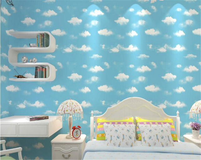 beibehang 3D Blue Sky White Cloud Wall paper Eco Nonwovens 3d ...