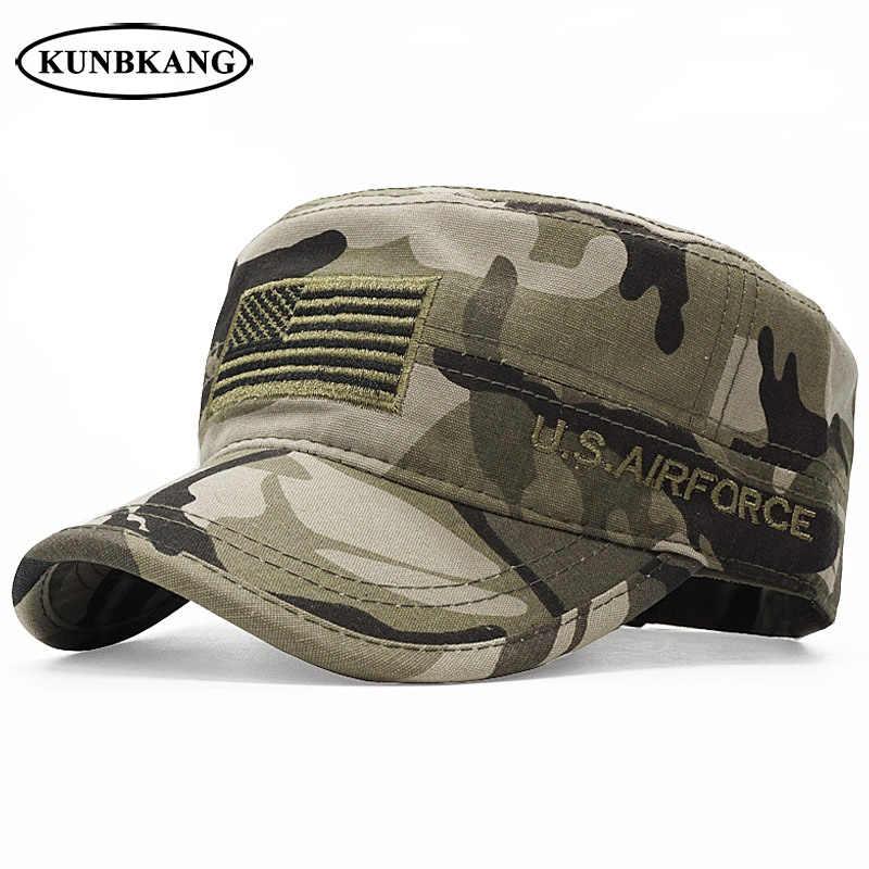 New Arrive USA Flag Camo Flat Cap Army Tactical Dad Hat Men Baseball Cap US  Air 62ab2e52e528