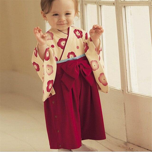 Newborn Cotton Print Japanese Style Kimono Cute Baby Rompers Infant