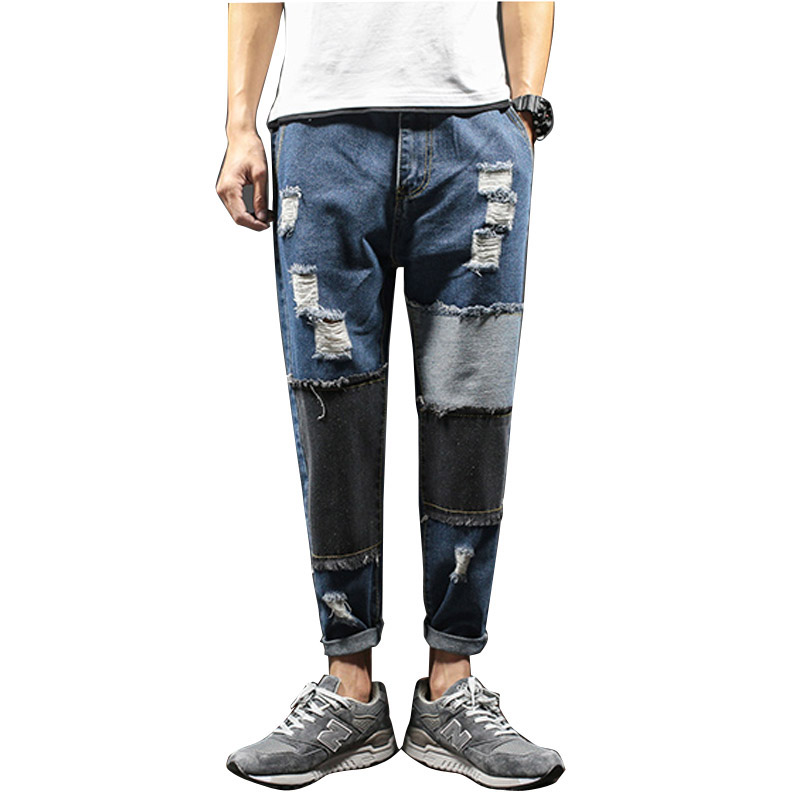 Размеры 29-42 Для мужчин модные повседневные джинсы Мотобрюки отверстие лоскутное мужские свободные джинсовые штаны-шаровары ...