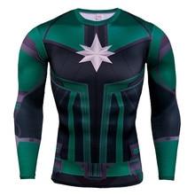 2019 Fitness Compression Shirt Men's Anime Super Hero Bodybuilding Long Sleeve Sports Surprise Captain T-Shirt T-Shirt цена