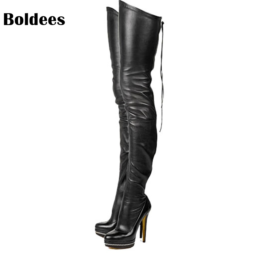 New Arrival Sexy Over-the-Knee Boots Women Platform Round Toe Thin High Heels Boots Black White Shoes Woman Winter wastyx new winter over the knee boots sexy super high women boots thin heel shoes woman fashion round toe sapato feminino 34 48