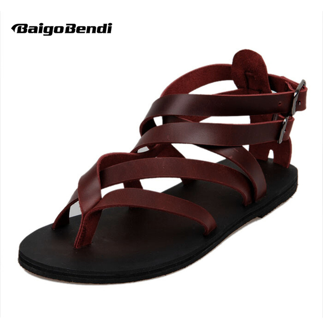 Повседневное летние пляжные кожа Ремешок на щиколотке-гладиаторы с перекрестной шнуровкой стринги Обувь в римском стиле с Т-образным ремешком Шлепанцы мужские сандалии