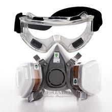 תעשייתי 7 In 1 6200 חצי פנים מסכת + מגן משקפיים גז הנשמה כפולה מסנני ציור ריסוס עבודה בטיחות מסכות