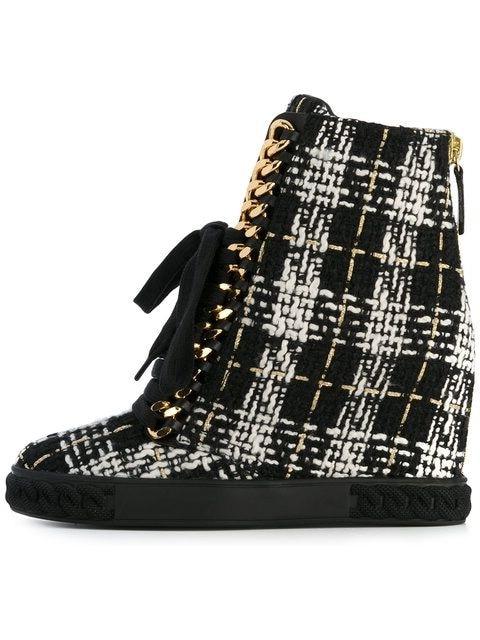 Твид Сапоги на танкетке женский, черный белый Платформа, высокий каблук танкетка Обувь на молнии кожа женская повседневная обувь настоящая