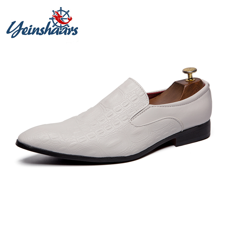 YEINSHAARS Fashion Mens Crocodile Grain Leather Slip on Dress Shoes Man Casual Wedding Party Flats Men's Business Derby Shoe