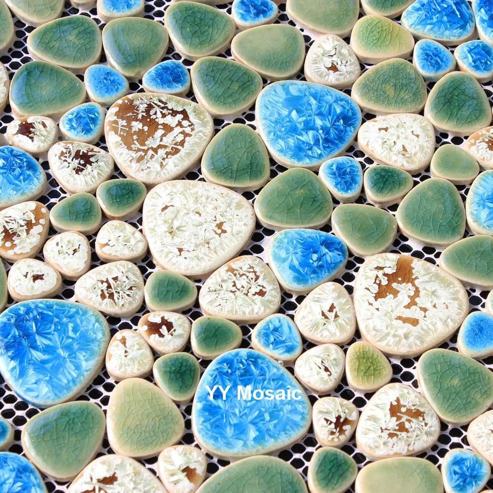sky blue green cobblestone ceramic mosaic tile for diy kitchen backsplash bathroom wall sticker bathtub swimming pool floor tile