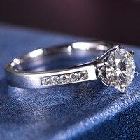 Камень Муассанит 1 карат 6,5 мм механический 18 K Золотое кольцо для девочек