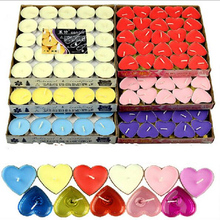 Romantic Smokeless Candles Birthday Wedding Party Circle Heart-shaped Tealight 50pcs Velas Decorativas General Candle 5LZ026