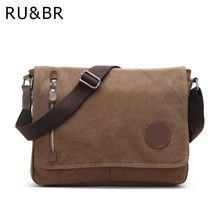 RU&BR New Male Package Canvas Casual Men's Shoulder Bag Korean Student Bags Solid Messenger Bags Multifunctional Men Crossbody
