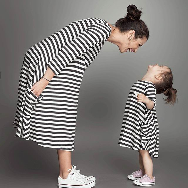 Retail Girl Dresses Black White Stripe Casual Dresses Mother and daughter Cotton Dress 2-5T 10234 nobrand 10234 black