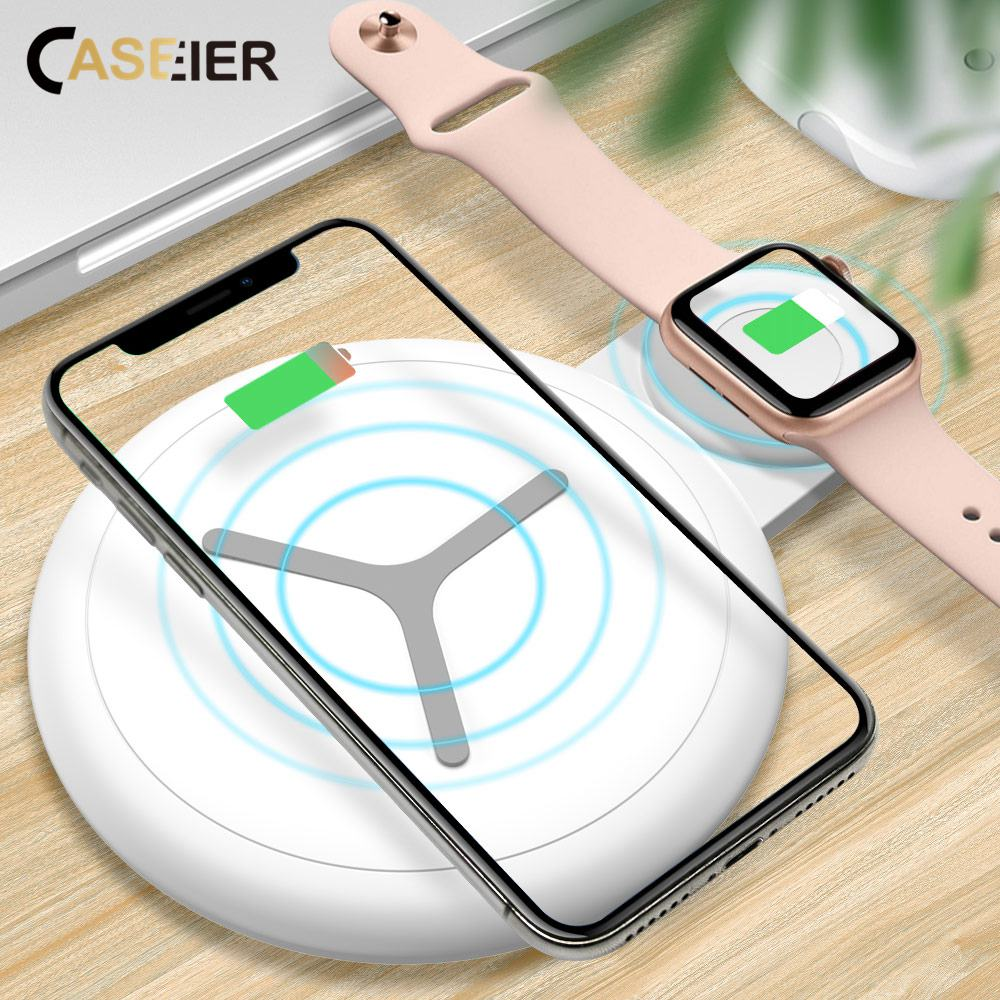 CASEIER Wireless Charger For Apple Watch 4 3 2 1 12.5W QI Fast Charger Dual Wireless Charging Pad For iPhone Wireless Charger   CASEIER Wireless Charger For Apple Watch 4 3 2 1 12.5W QI Fast Charger Dual Wireless Charging Pad For iPhone Wireless Charger
