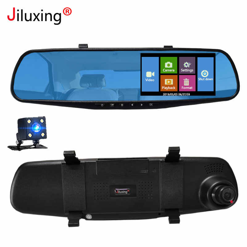 Jiluxing touch screen Car DVR camera 1080P two cameras Rearview Mirror Dash camera Video Recorder Auto camera Night vision