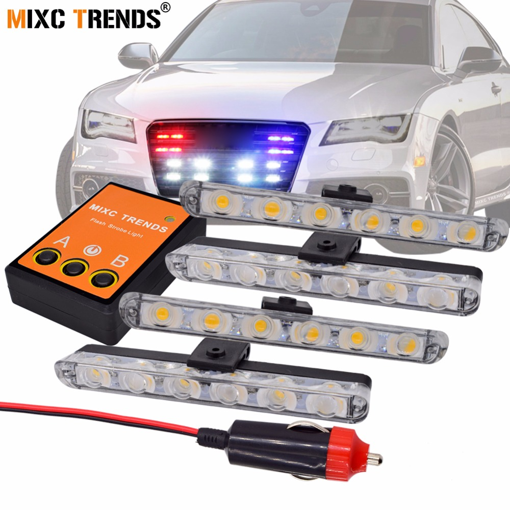 4x6 LED Strobe Polizia Flash Luce 12 V Auto Stroboscopi LED luce per Toyota C-hr Kia Sportage Peugeot 308 Honda Civic Hyundai