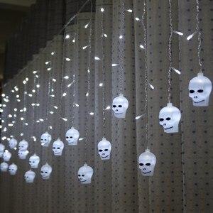 Image 4 - Lyfs 3.5M 96 Led Halloween Gordijn Licht Snaren Schedel Stijl Vakantie Verlichting Slaapkamer Woonkamer Halloween Sfeer Decor