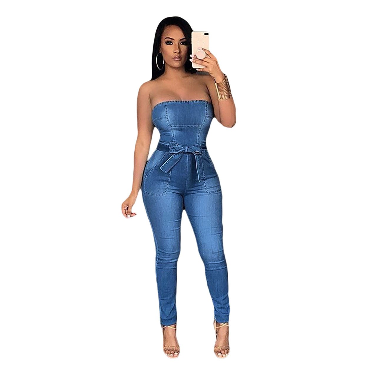 Women Bowknot Denim Jumpsuit Sleeveless Slim Summer Jumpsuit High Waist Casual Playsuit in Jumpsuits from Women 39 s Clothing
