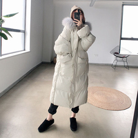 2018 Fur Hooded Parkas Coat Women Over Knee Fashion Korean Loose Thickening Down Jackets Coats Woman Casual Warm Outwears