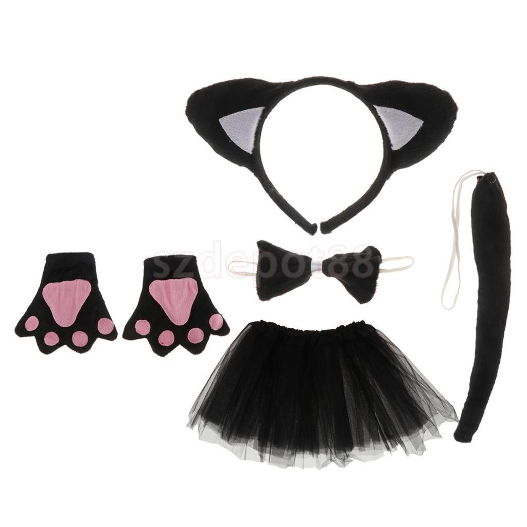 Black Cat Fancy Dress Set Ears Tail /& Bow Tie Halloween Party