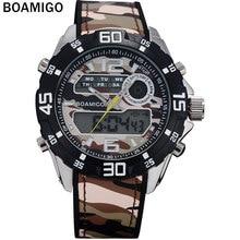 BOAMIGO hombres relojes deportivos de marca hombres militares relojes de doble pantalla digital analógico LED de pulsera de hombre de cuarzo 30 M impermeable