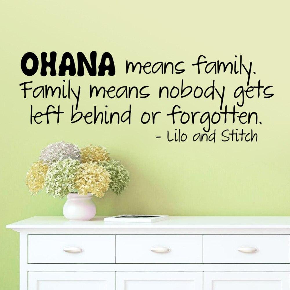Fashion OHANA MEANS FAMILY Cartoon Design wall sticker Lilo and ...