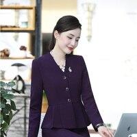 OL Styles Ladies Blazers Autumn Winter Elegant Purple For Business Women Outwear Jackets Coat Female Tops