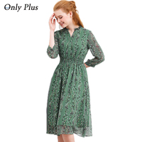 ONLY PLUS Womens Dresses For Autumn 2017 Long Sleeve A-Line Sweet Leaf Print Chiffon Dress V-Neck Casual Knee Pleat Waist Dress