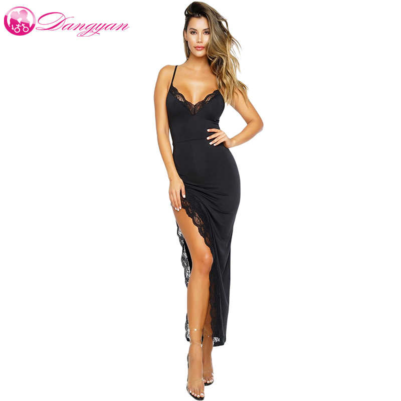 89269773ea Dangyan Maxi Dress Summer 2018 Sexy Black Spagetti Strap Side Slit Lace  Trim Long Party Dress