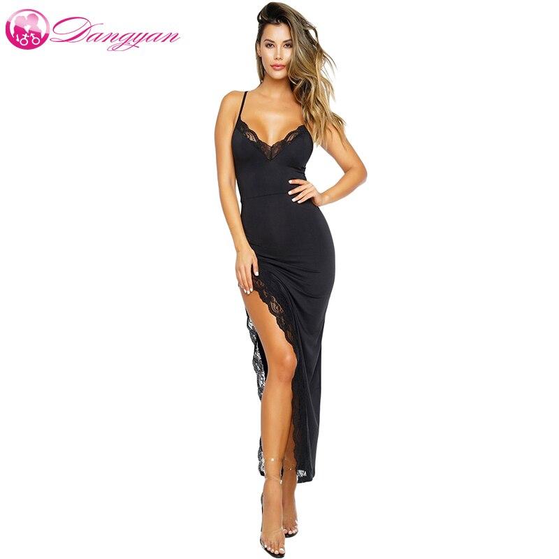 Dangyan maxi vestido de verão 2018 sexy preto spagetti cinta lateral fenda rendas guarnição longo vestido festa longo