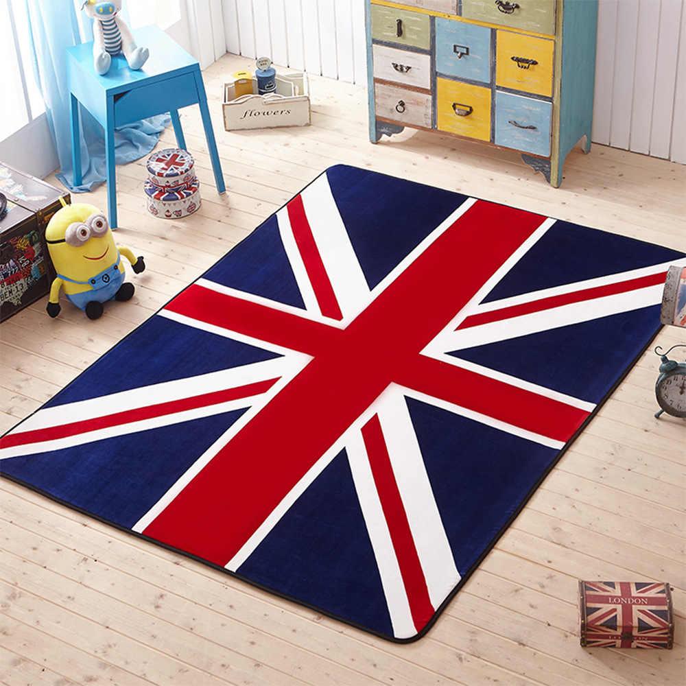 ホーム廊下カーペットリビングルームドア敷物椅子クッションカーペットヨガサンゴベルベットマット青赤愛ロンドン英国旗