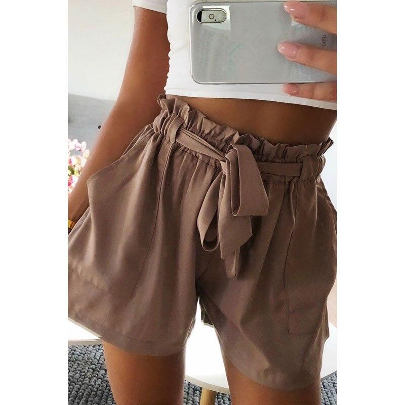 2019 Fashion Womens   Shorts   High Waist Tie Belt Paper Bag   Shorts   Ladies Summer Casual Work Drawstring Sashes Home   Shorts