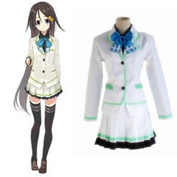 Бесплатная доставка Горячей Множество цветов phantom мир косплей IZUMI Рейна cos JK девушка Японский колледж униформа (coat + рубашка + юбка + галстук)