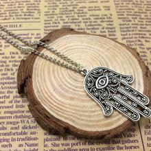 New 1pc Good Luck Protection Hamsa Symbol Fatima Hand Evil Eye Pendant Chain Necklace