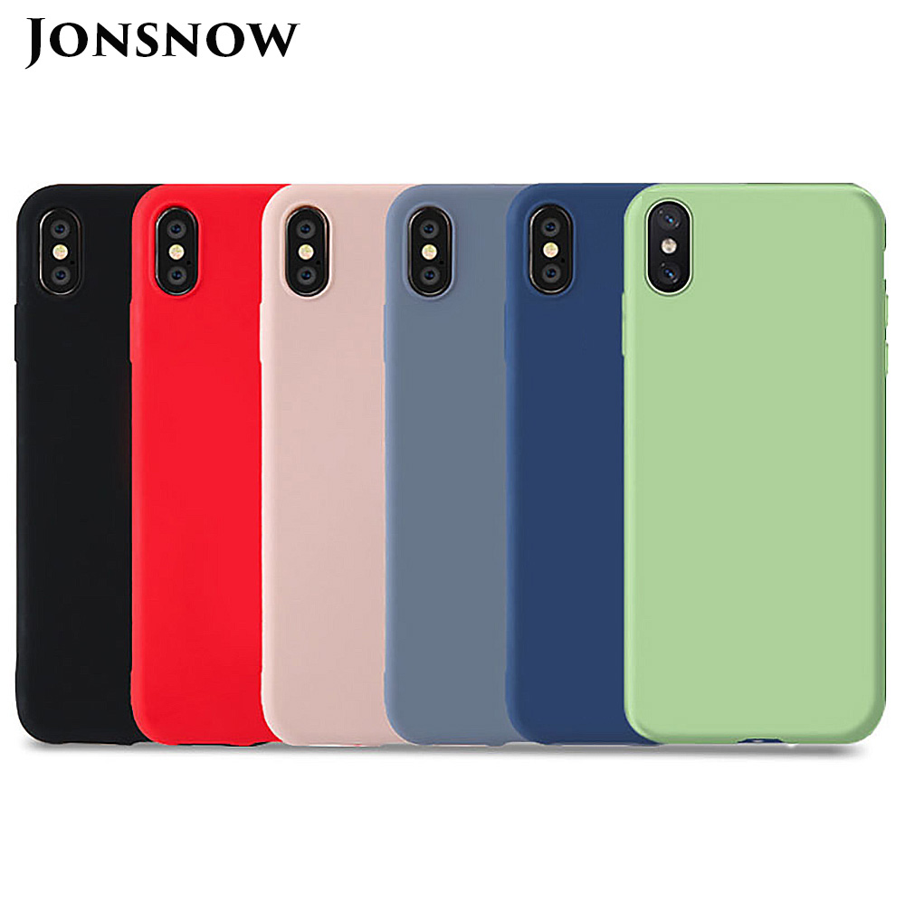 KIPX1124_1_JONSNOW Pure Color Silicone Case for iPhone XS XR XS Max 6 6S 6P 7 8 Plus Ultra-thin Matte Dirt-resistant Soft TPU Solid Cover
