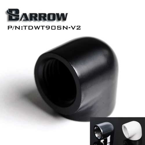 Barrow Black/Silvery/White double internal G1/4'' thread 90 degree Fitting Adapter water cooling Adaptors water cooling fitting barrow g1 4 female thread straight docking seat tube extend 7 5mm computer water cooling fitting tnyz g7 5