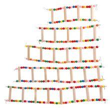 Лестница для попугая подъем жердочка для птиц держатель игрушки домашние птицы Parakeet хомяк качели красочные бусины из натурального дерева играть забавные штуковины Che