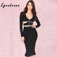 Eycebruee 2017 Autumn Sexy Hollow Out Bandage Dress Set Chic Women Elegant Black Long Sleeve Two