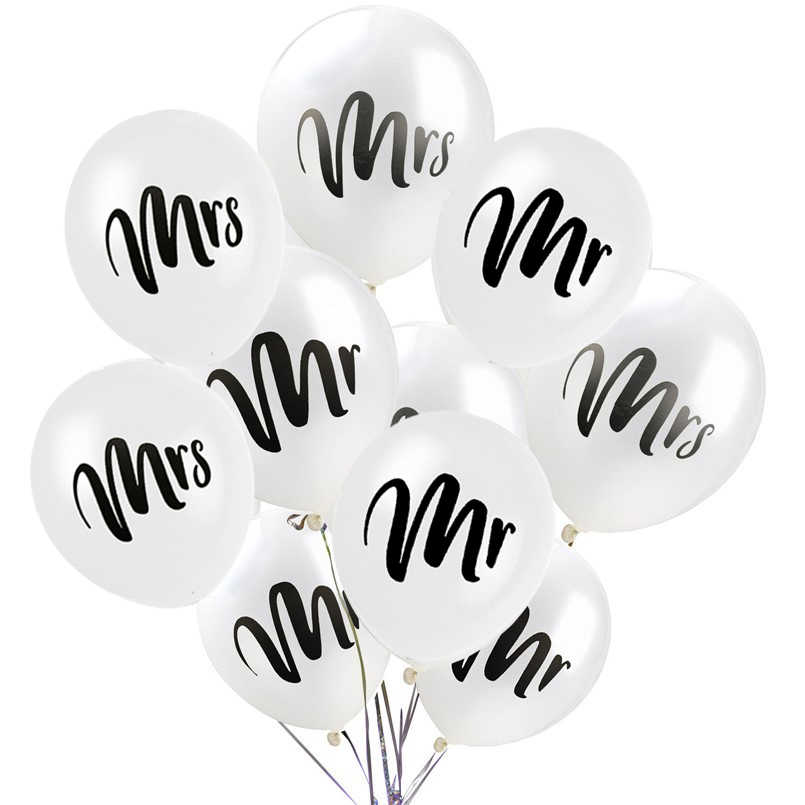 15PCS/lot 10inch Round White Print Mr&Mrs Latex Helium Balloons Happy Wedding Valentine's Day Event Bride Globos Supplies
