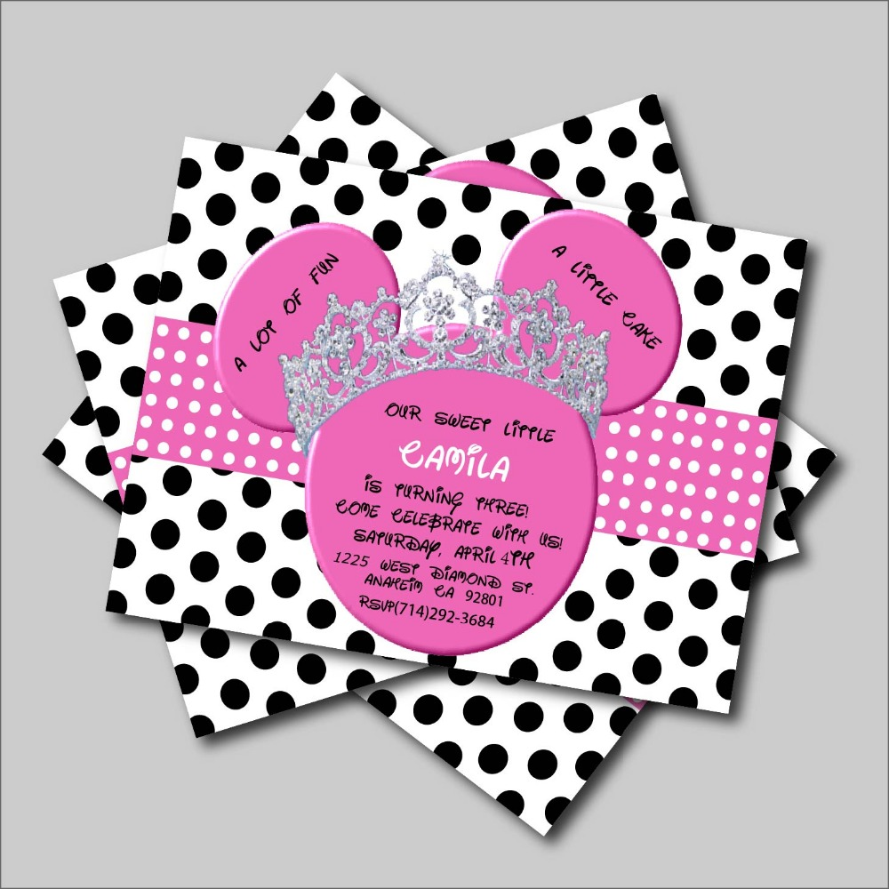 20 pcs/lot Minnie Mouse Birthday invitation Mickey Minnie Mouse Baby ...