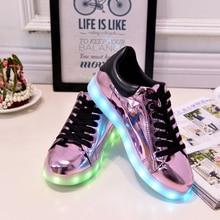 7สีสวยไฟLedรองเท้าผู้หญิงสบายๆ2016ฤดูใบไม้ผลิส่องสว่างเทนนิสCon Luz S Choenen Met Lichtเรืองแสงขึ้นPuสีม่วงUsbรองเท้า