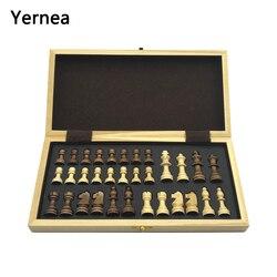 Xadrez de madeira tabuleiro de xadrez peças de madeira maciça placa de xadrez dobrável high-end puzzle jogo de xadrez yernea