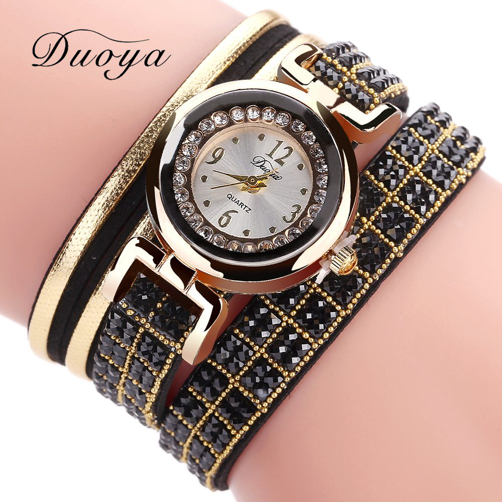 Ladies Watch Clock Duoya Brand Women Bracelet Wristwatch Fashion Gold Rhinestone Quartz Watches For Women Female Girls Gift 2017