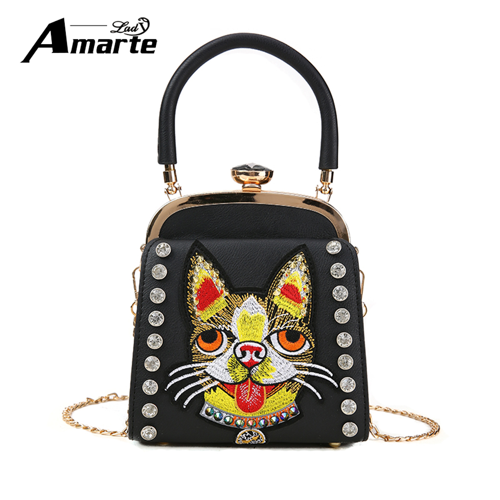 Amarte 2018 New Latest Model Women Bags High Quality Cross Body Bag PU Leather Cat Head Embroidery Female Shoulder Bag Handbags 2016 high quality pu women bag fashion handbags fresh totes cross body bag shoulder bags