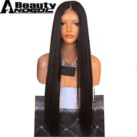 ANOGOL BEAUTY High Temperature Fiber Brazilian Hair Peruca Afro Long Straight Full Hair Wigs Black Synthetic Lace Front Wig