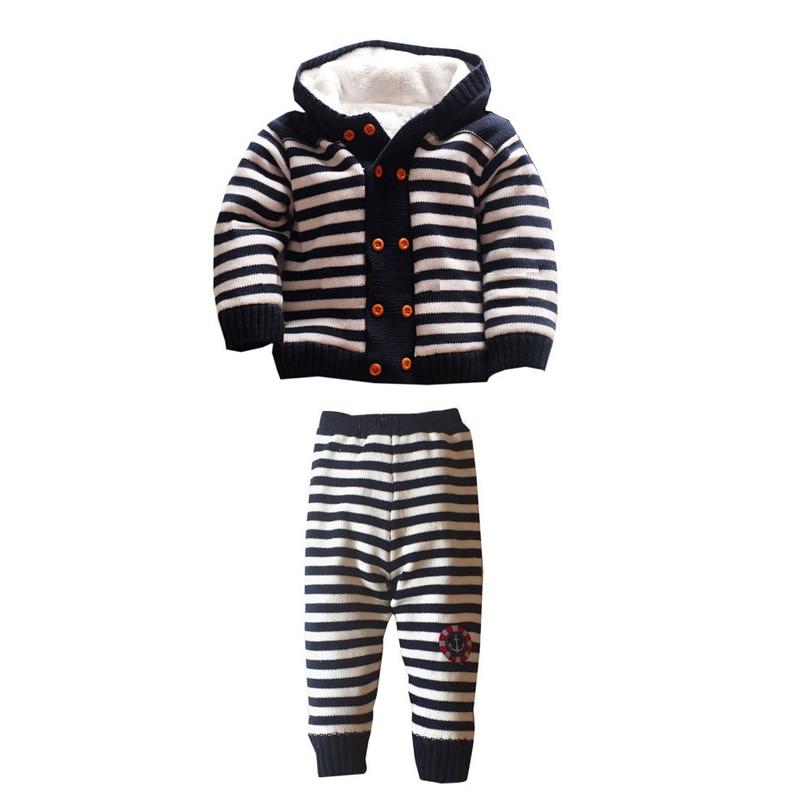 Enfants pull bébé filles vêtements ensemble épais chaud enfants Caual hiver manteau + pantalon mode Style garçon vêtements ensemble XL53
