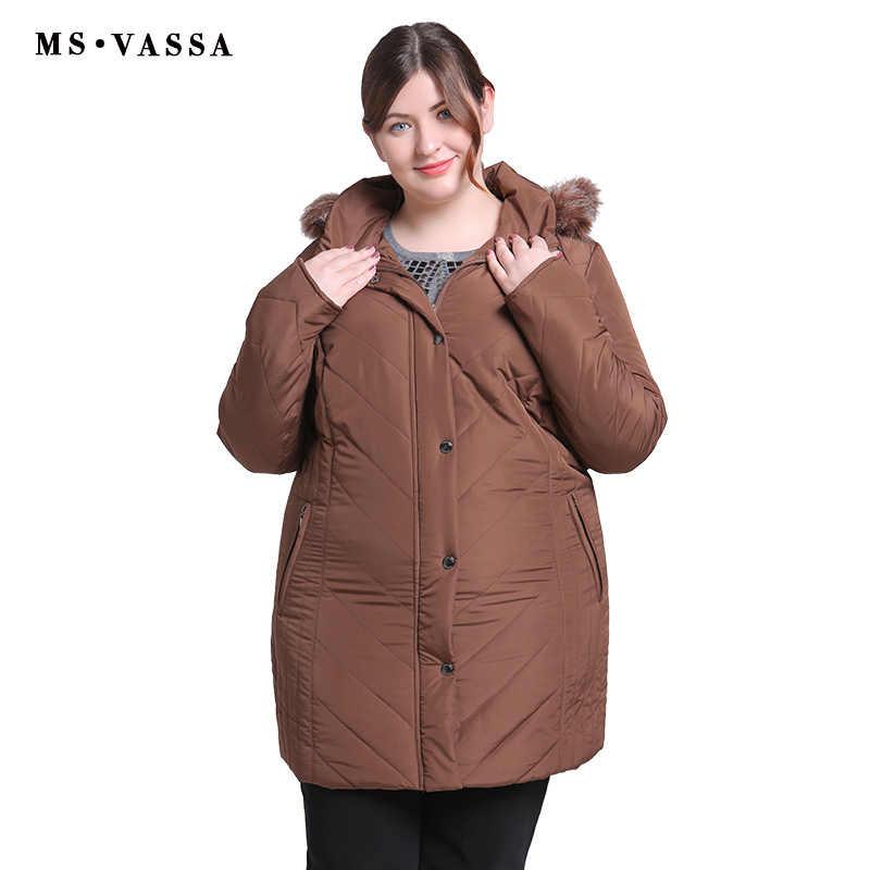 MS VASSA Plus Size Mulheres Casacos 2019 Nova Senhoras Parka Mulheres Jaqueta de Inverno Turn-down collar Parkas com Capuz pele Tamanho Grande outwear